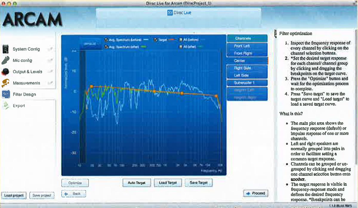 «Dirac Live»: После проведения автокалибровки и оптимизации отображаются, как здесь показано на примере центрального канала, первоначальные (ГОЛУБЫЕ) и исправленные (ЗЕЛЕНЫЕ) частотные характеристики, а также свободно назначаемый целевой график (ОРАНЖЕВЫЙ).
