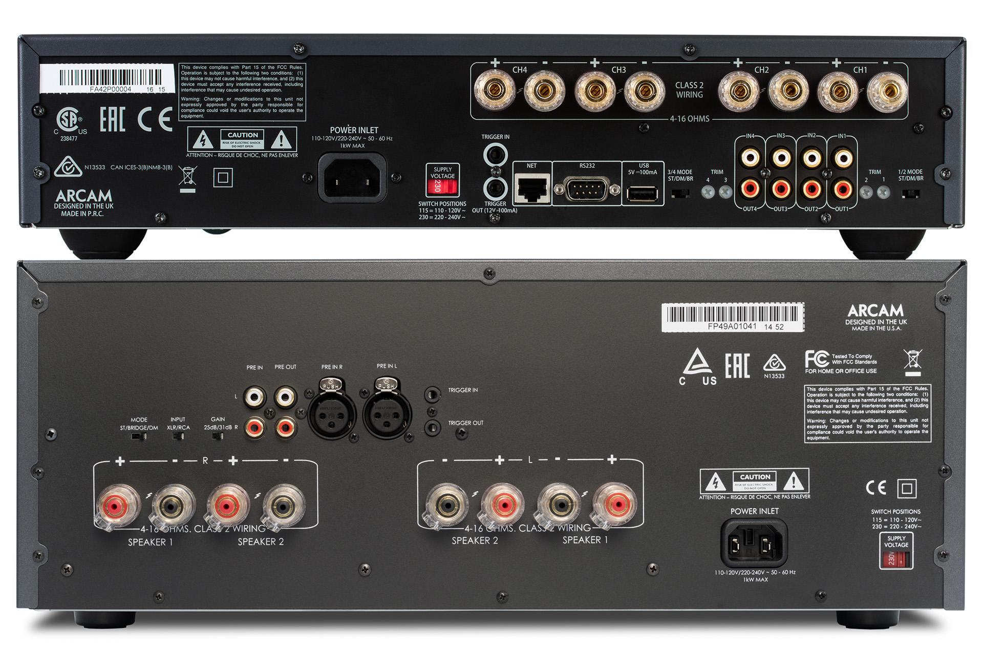 Четырёхканальный оконечный усилитель P429 (вверху) соединяется с процессором через разъёмы RCA. USB служит исключительно для обновления программного обеспечения, а через гнездо Ethernet осуществляется управление по сети. Оконечный стереоусилитель P49 (внизу) в числе прочего допускает подключение по схеме bi-wiring. Подключение к процессору осуществляется через разъёмы RCA и XLR.
