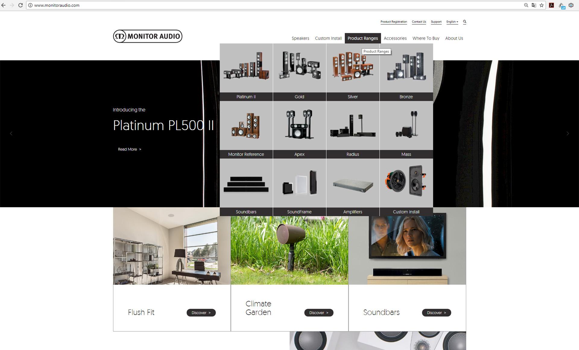 Обновлённый сайт monitoraudio.com отличается современной удобной навигацией