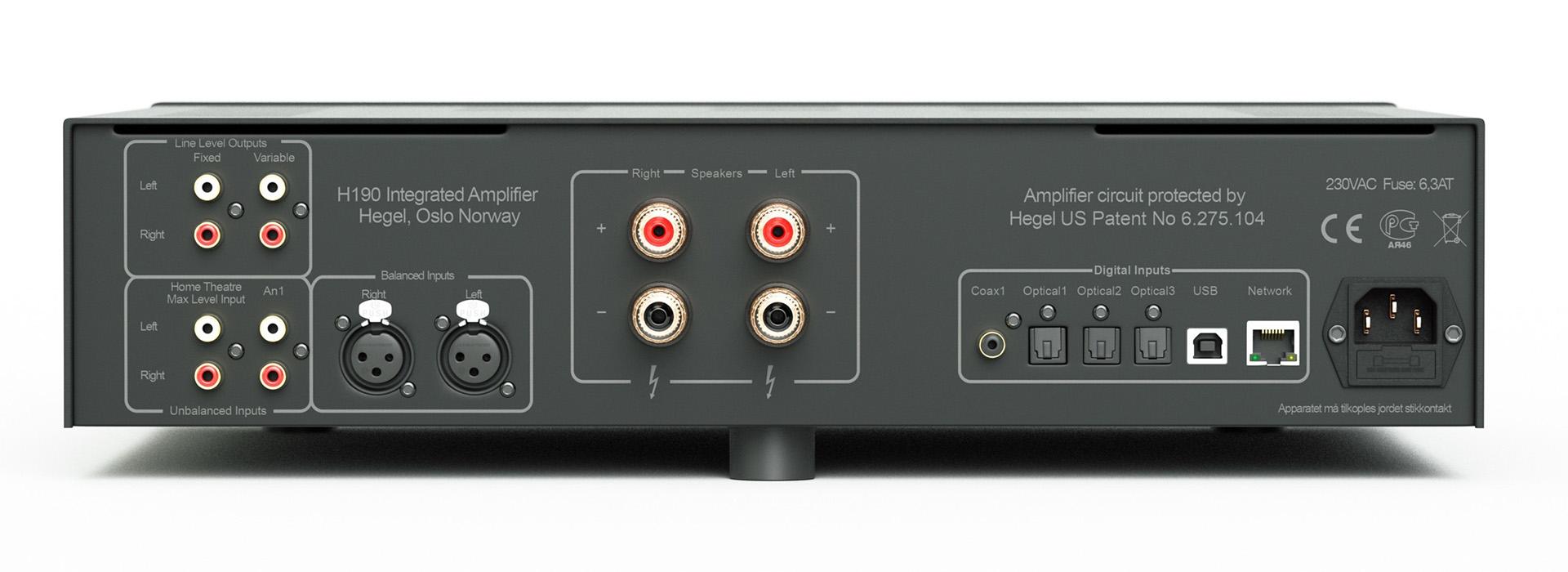 Hegel H190 – это 250 Вт на канал при 4 Ом, балансные и небалансные аналоговые входы, шесть цифровых входов