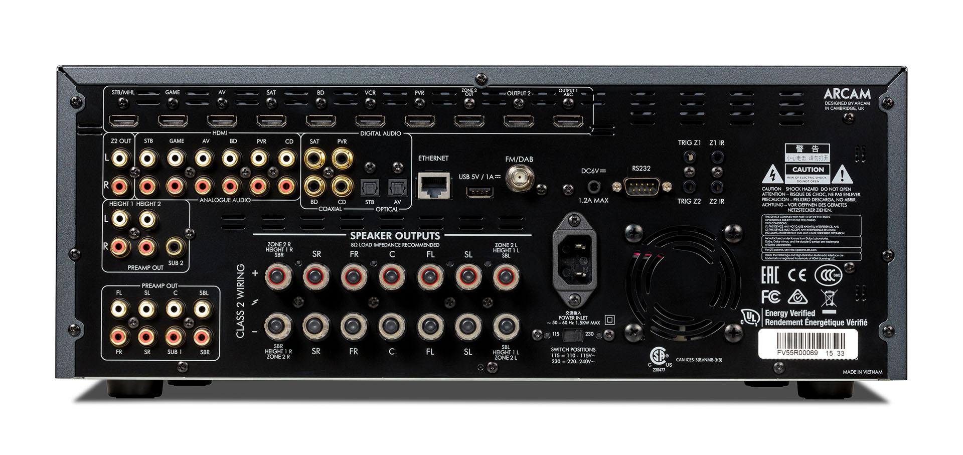 Задняя панель Arcam AVR550